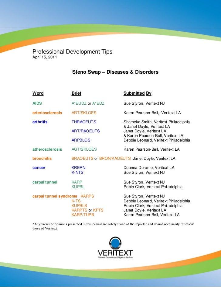 Professional Development TipsApril 15, 2011                           Steno Swap – Diseases & DisordersWord               ...