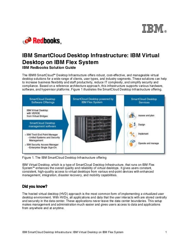 ®IBM SmartCloud Desktop Infrastructure: IBM VirtualDesktop on IBM Flex SystemIBM Redbooks Solution GuideThe IBM® SmartClou...