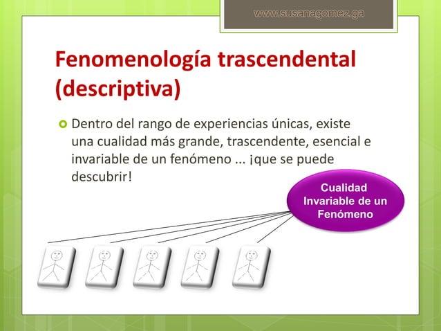 Fenomenología trascendental (descriptiva)  Dentro del rango de experiencias únicas, existe una cualidad más grande, trasc...