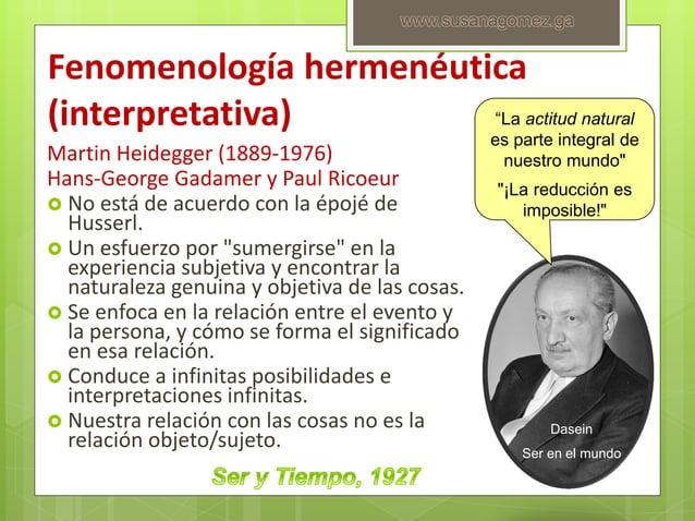 Fenomenología hermenéutica (interpretativa) Martin Heidegger (1889-1976) Hans-George Gadamer y Paul Ricoeur  No está de a...