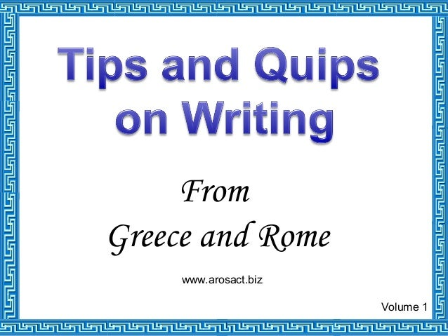 From Greece and Rome Volume 1 www.arosact.biz