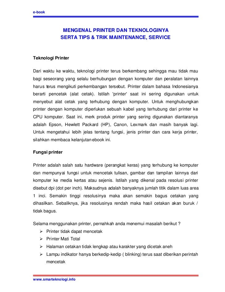 e-book                MENGENAL PRINTER DAN TEKNOLOGINYA               SERTA TIPS & TRIK MAINTENANCE, SERVICETeknologi Prin...