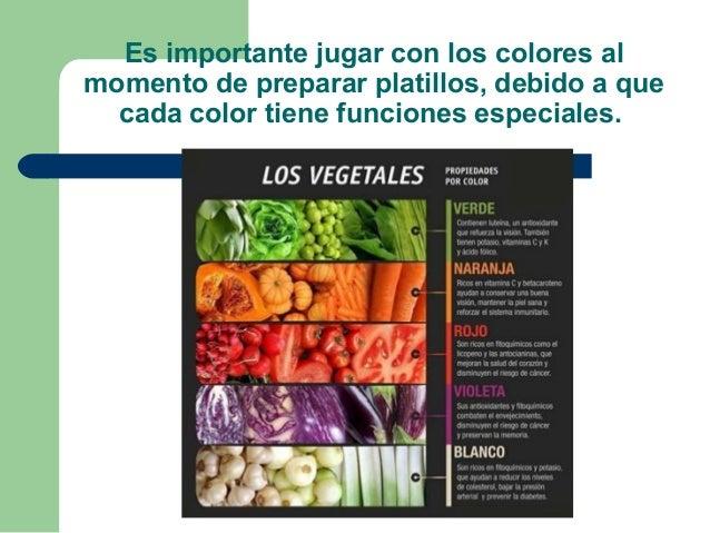 Es importante jugar con los colores al momento de preparar platillos, debido a que cada color tiene funciones especiales.