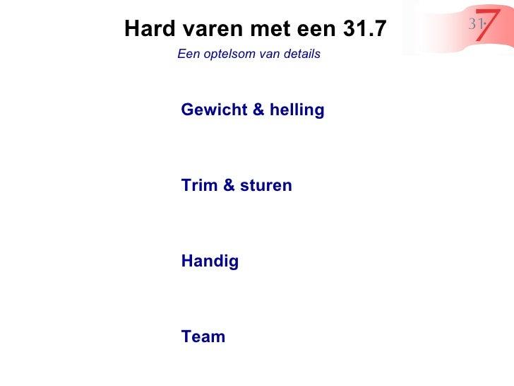 Hard varen met een 31.7  Een optelsom van details  Gewicht & helling  Trim & sturen  Handig  Team