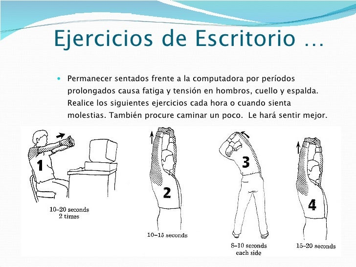 Tips ergonomicos oficina cambios entrega for Ejercicios en la oficina