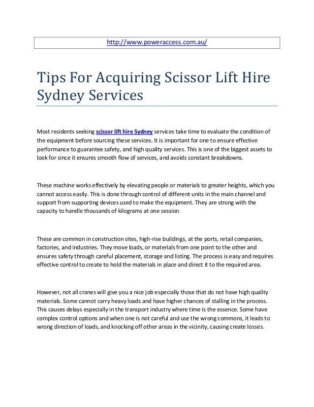 http://www.poweraccess.com.au/Tips For Acquiring Scissor Lift HireSydney ServicesMost residents seeking scissor lift hire ...