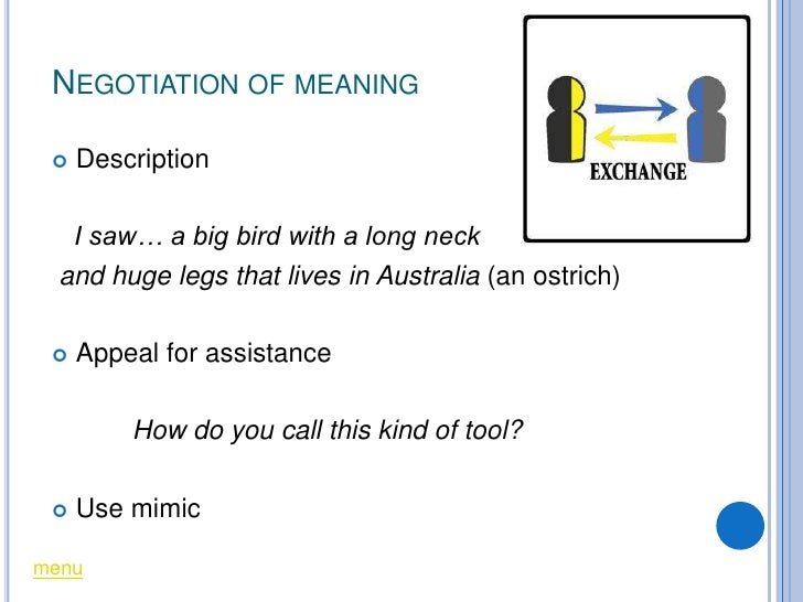 NEGOTIATION OF MEANING      Description     I saw… a big bird with a long neck   and huge legs that lives in Australia (a...