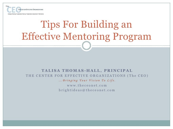 Tips For Building an Effective Mentoring Program<br />Talisa Thomas-Hall, Principal<br />The Center for Effective Organiza...