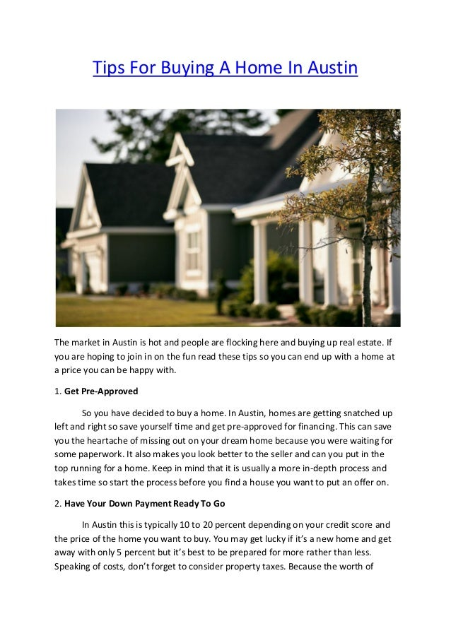 Tips For Buying A Home In Austin The Market In Austin Is Hot And People Are  ...