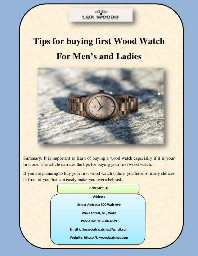 Tips for buying first Wood Watch For Men's and Ladies