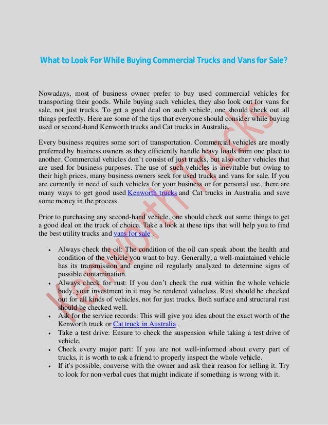Tips for buying used commercial vehicles cat trucks in australia