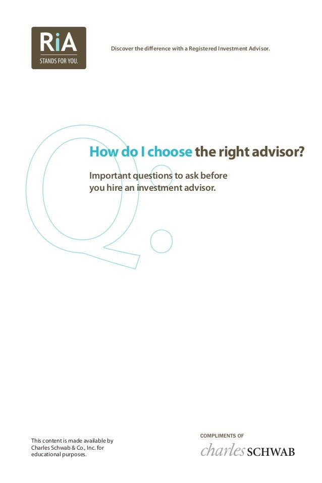 How do I choose the right advisor? Important questions to ask before you hire an investment advisor. Discover the differen...
