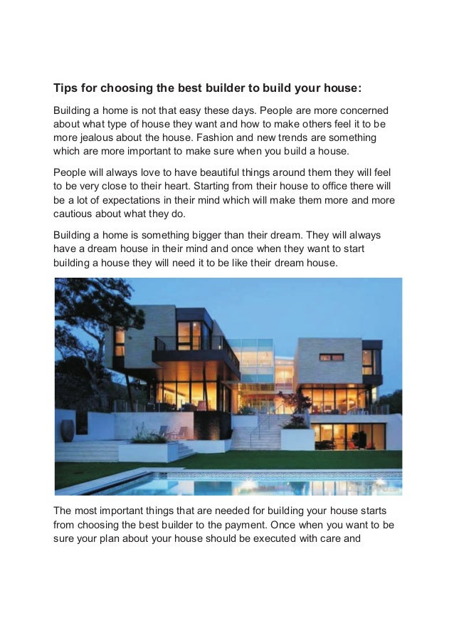 Tips for choosing the best builder to build your house: Building a home is not ...