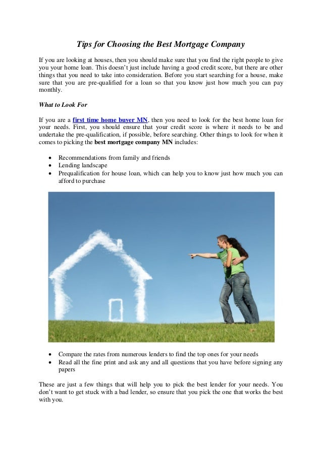 Tips For Choosing The Best Mortgage Company