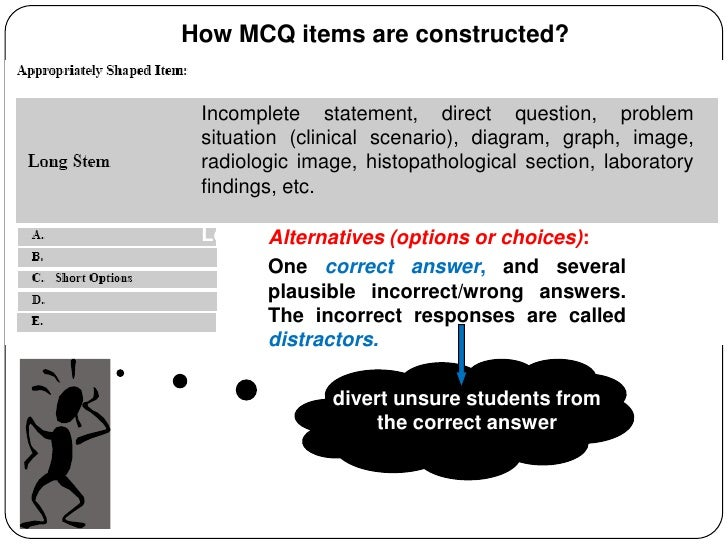 constructing essay items Guidelines for constructing effective test items 1 multiple choice questions many users regard the multiple-choice item as the most flexible and probably.