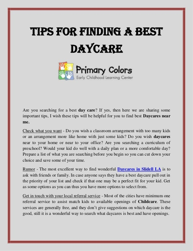 Tips for finding a best daycare