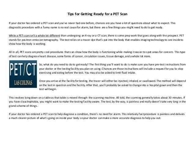 Tips For Getting Ready For A Pet Scan