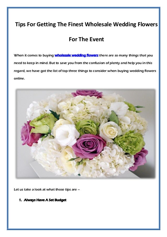 Tips For Getting The Finest Wholesale Wedding Flowers Event