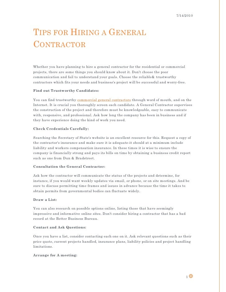 7/14/2010 TIPS FOR HIRING A GENERAL CONTRACTOR