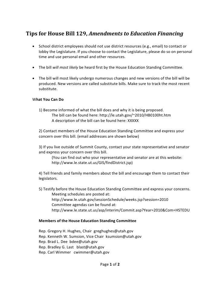 TipsforHouseBill129,AmendmentstoEducationFinancing       Schooldistrictemployeesshouldnotusedistrictreso...