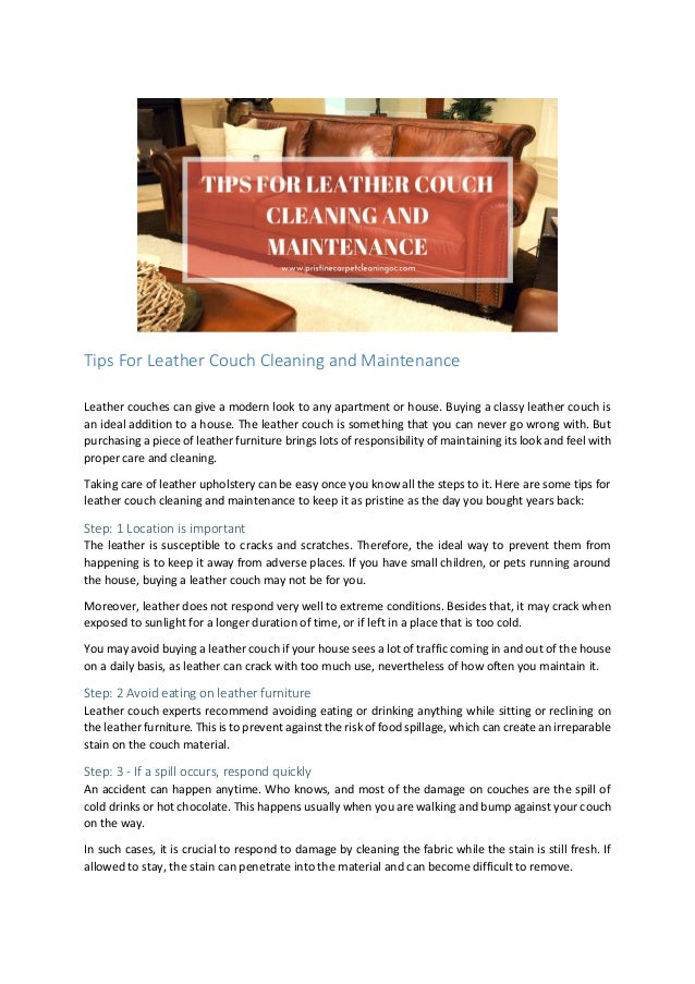Tips For Leather Couch Cleaning And Maintenance