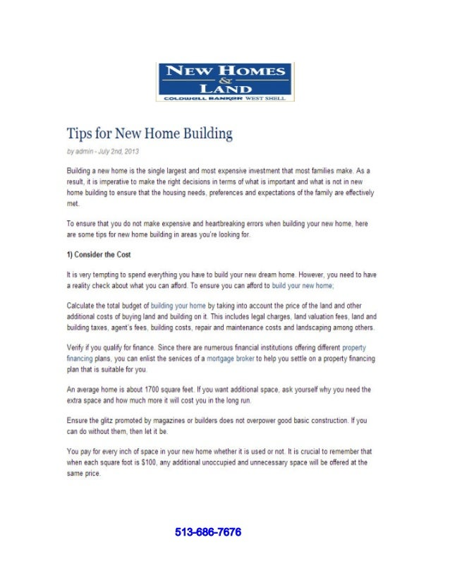 Tips For New Home Building 513 686 7676