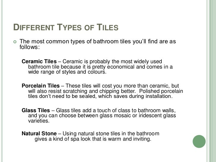 DIFFERENT TYPES OF TILES ... Part 93