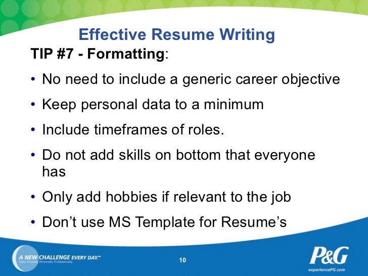 ... 10. Effective Resume Writing ...