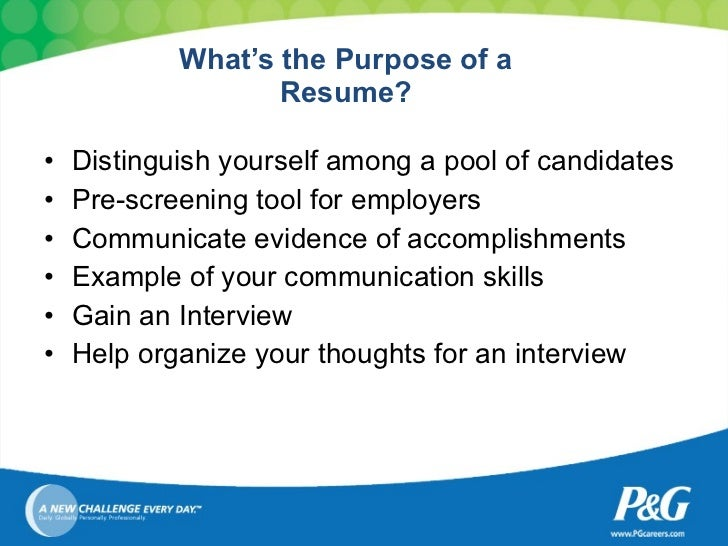 Tips To Resume Writing; 2. Whatu0027s The Purpose ...  Purpose Of A Resume