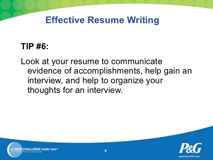 9 effective resume writing - Tips On Writing Resumes