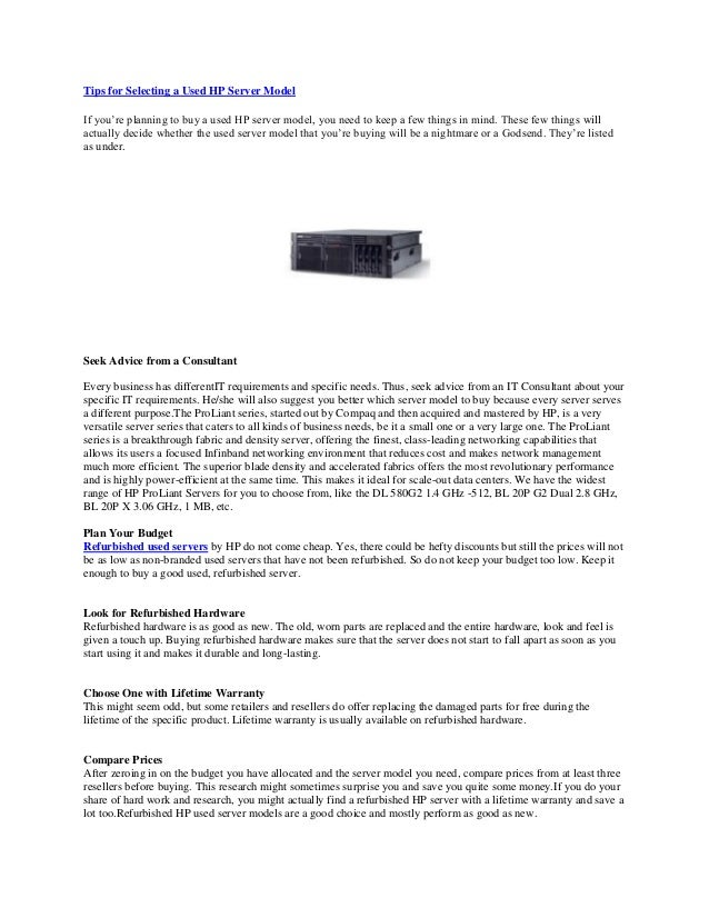 Tips for Selecting a used Hp Server Model