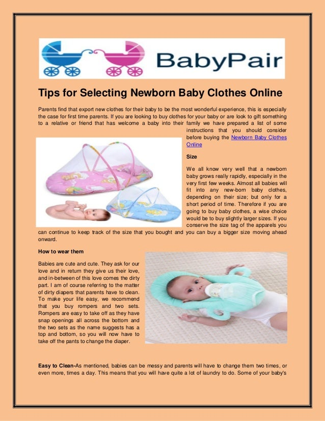 c65ced99a253 Tips for selecting newborn baby clothes online