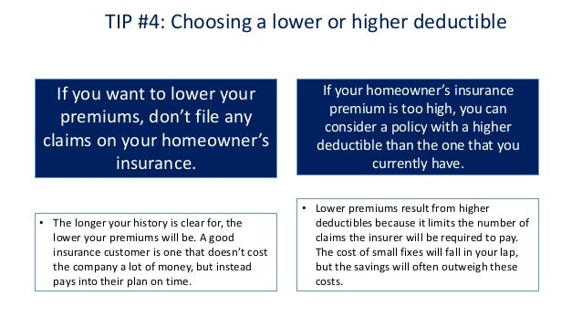 excellent tip choosing a lower or higher deductible with recommended  homeowners insurance coverage