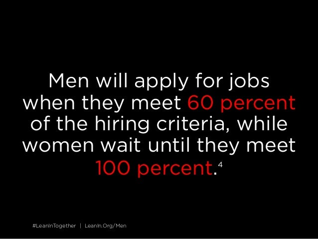 #LeanInTogether | LeanIn.Org/Men#LeanInTogether | LeanIn.Org/Men Men will apply for jobs when they meet 60 percent of the ...
