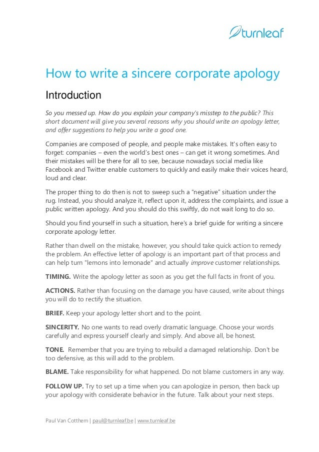 Deepest apology letter