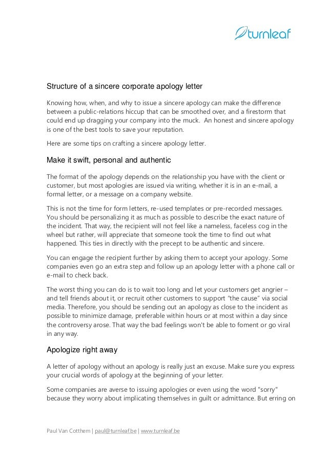 10 tips for writing a corporate apology letter 2 structure of a sincere corporate apology letter spiritdancerdesigns Gallery