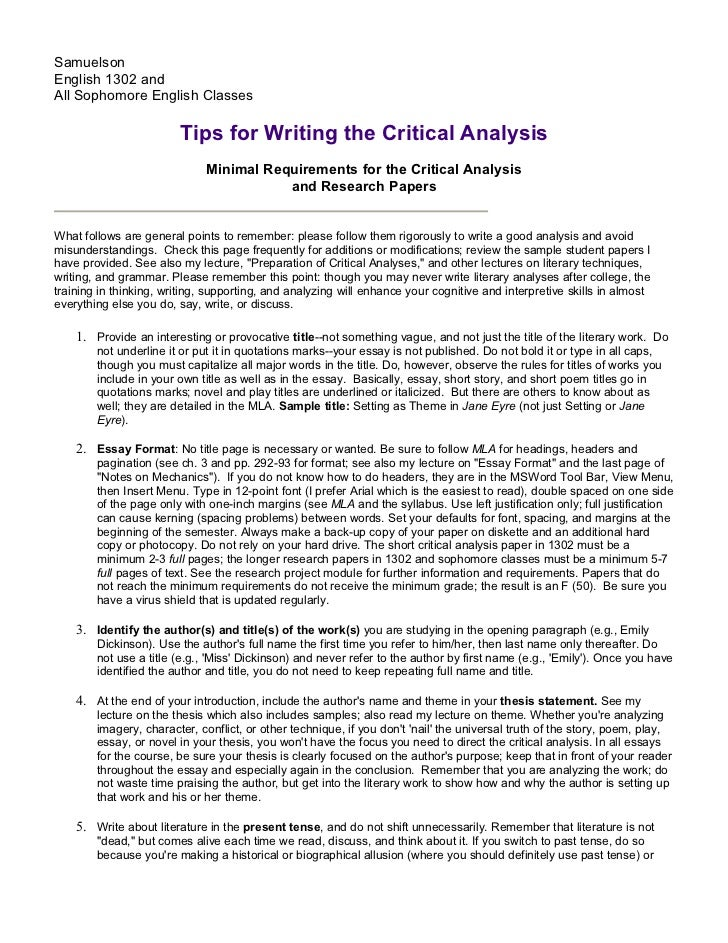 samuelsonenglish 1302 andall sophomore english classes tips for writing the - Response To Literature Essay Format
