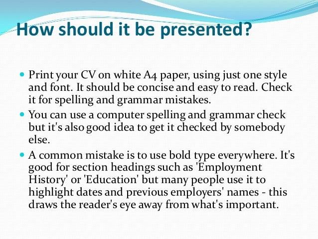 Writing Tips for Curriculum Vitae (CV)