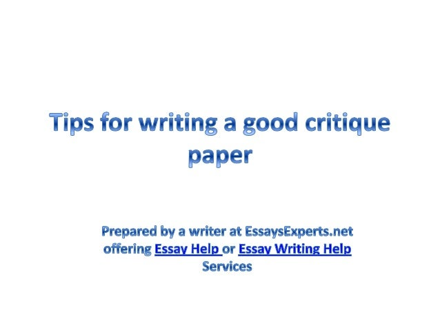 Help to write research paper critique