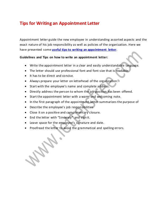 Tips on how to write an appointment letter tips for writing an appointment letter appointment letter guide the new employee in understanding assorted aspects expocarfo