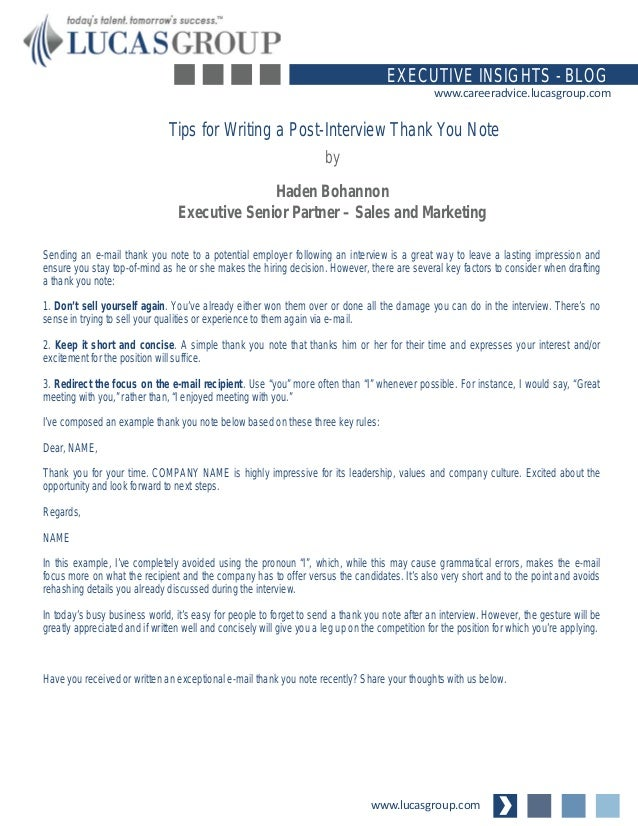 Tips for Writing a PostInterview Thank You Note