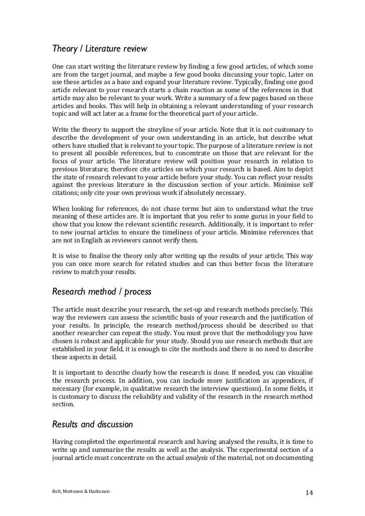Tips for writing scientific journal articles for Science article summary template