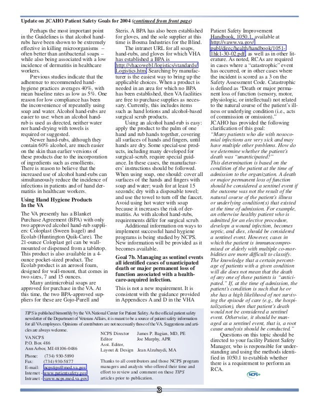 Oxygen | Eventium |Patient Safety Standards Jcaho Policies