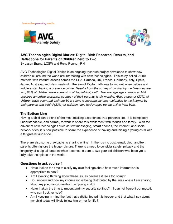 AVG Technologies Digital Diaries: Digital Birth Research, Results, andReflections for Parents of Children Zero to TwoBy Ja...
