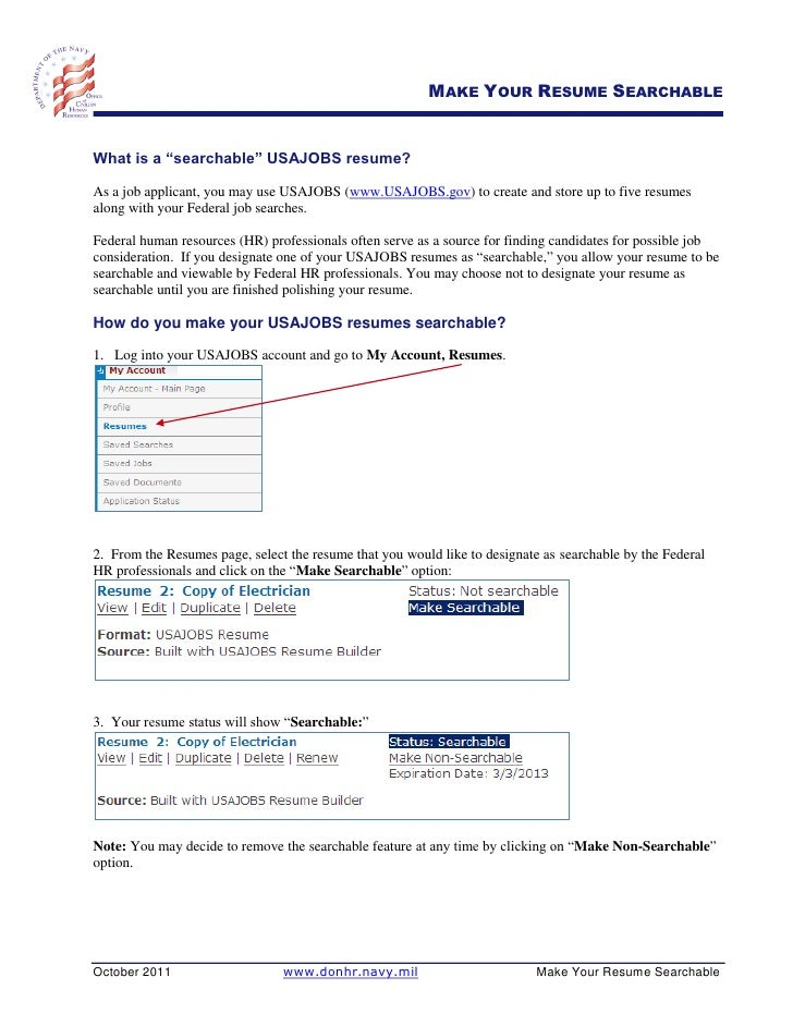 5 make your resume searchablewhat - Usajobsgov Resume Builder