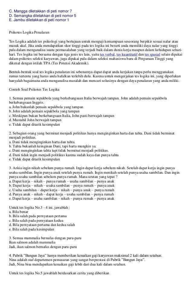 93 Tips Lulus Tes Psikotes Dan Contoh Soal Tes Psikotes Soal Ujian Telkom Psikotes Tpa