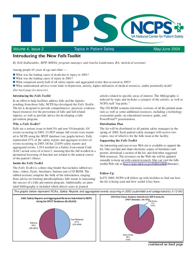 Volume 4, Issue 2 Topics In Patient Safety May/June 2004 Introducing the Falls Toolkit In an effort to help facilities add...
