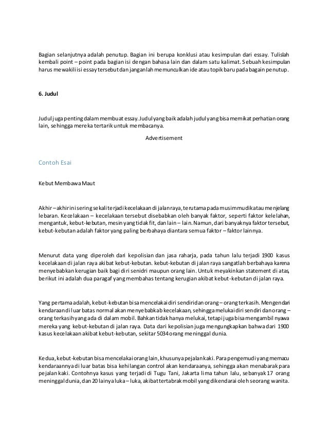 Tips Membuat Essay
