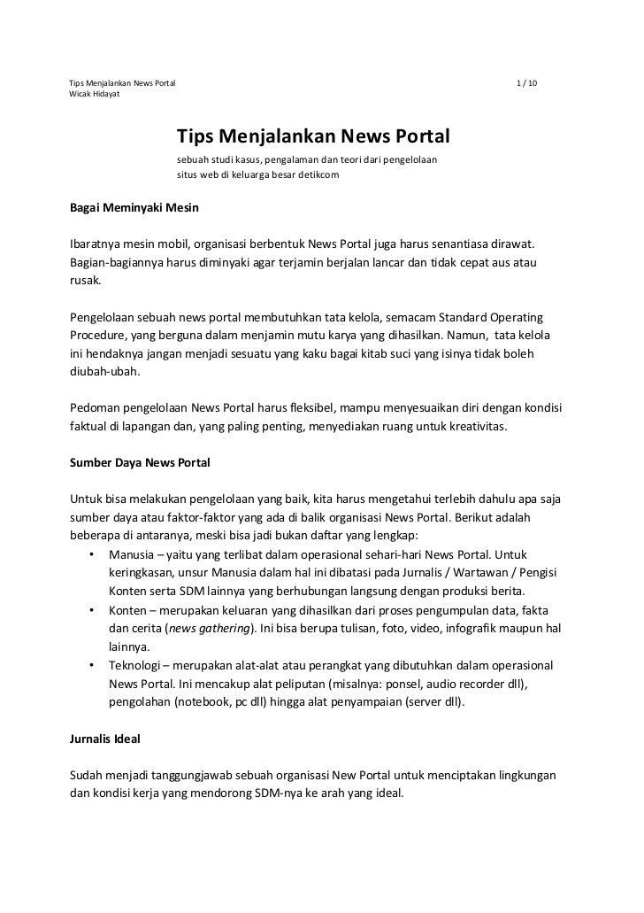 Tips Menjalankan News Portal                                                               1 / 10Wicak Hidayat            ...