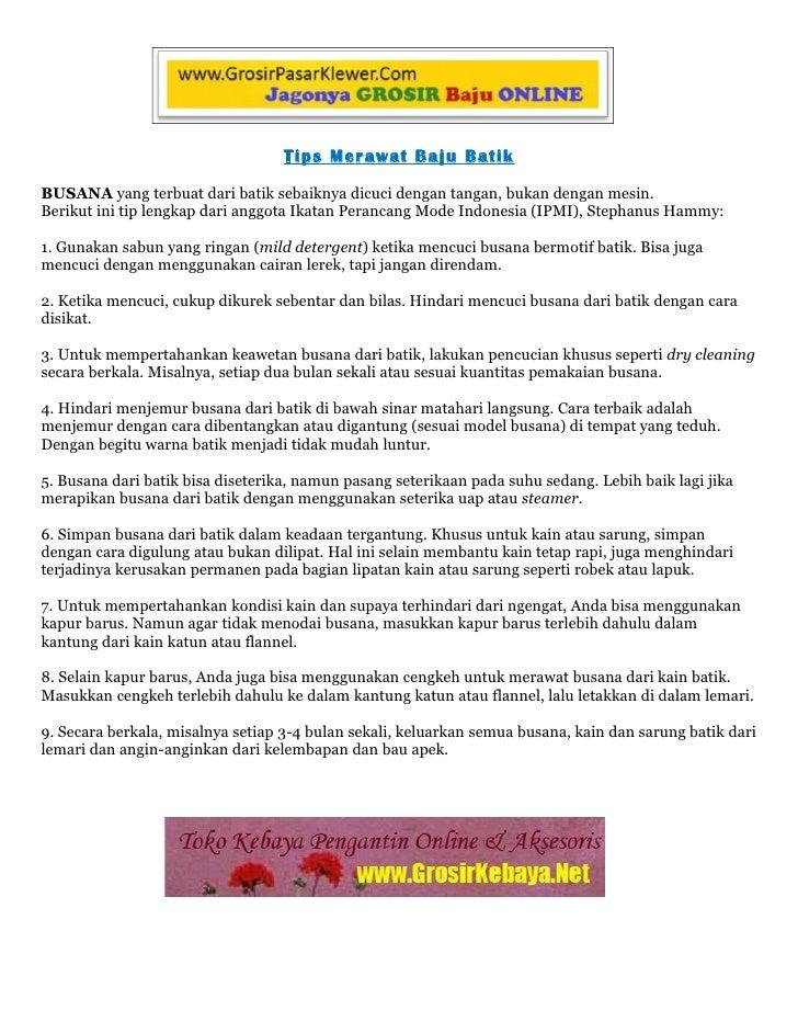 Cara merawat baju pakaian batik